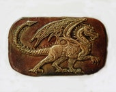 Red Dragon Stone Sculpture, Winged Dragon, Garden Art Wall Plaque