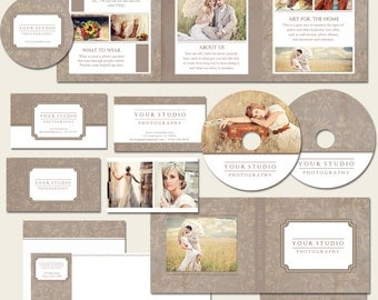 SALE Photography Marketing Package - Traditional 12 Piece set: 5x5 Accordion Brochure, Business cards, CD Cases, Gift Certificate