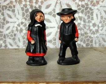 Vintage Amish Dolls, Cast Iron and Hand Painted, Man and Woman Figurines