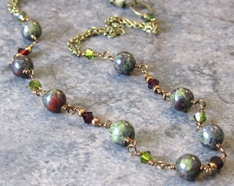 Dragon's Blood Jasper Beaded Necklace with Swarovski Crystals and Brass Chain