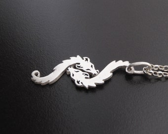 Dragon jewelry silver pendant - 2 Nuzzling silver dragons