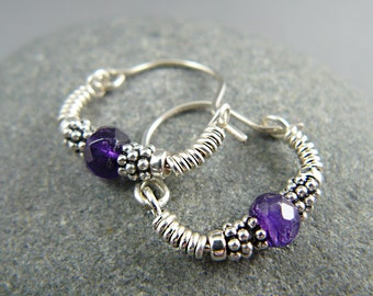 Amethyst Hoop Earrings, Sterling Silver, February Birthstone, Gem Hoop Earrings, Silver Hoop Earrings, Gemstone Hoop, Hoop Earring, Amethyst