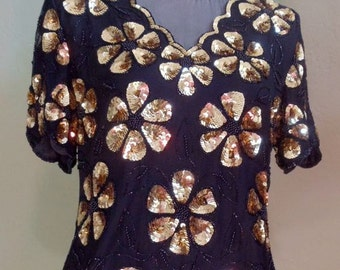 """Vintage Stenay Black Evening Top Embellished with Gold Sequins Plus Black Round Beads & Bugle Beads Bust 37"""" Waist 34"""""""