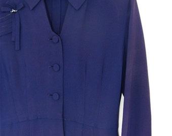 The 1940's Navy Blue Crepe Jenni Day Dress