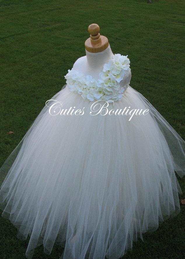 Ivory Hydrangea Flower Dress Wedding Dress Birthday Picture Prop 3, 6, 9, 12, 18, 24 Month, 2T, 3T,4T 5T 6T Ivory Flower Girl Tutu Dress