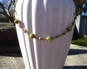 Earthy Olive Green, Cream & Toffee Brown Pebble Necklace Wedding Gift Summer