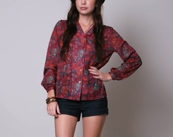 Medium / Large - 70s Blouse - Red Floral Blouse - Long Sleeved Maroon Shirt