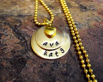 Personalized Jewelry, Mommy Necklace, Personalized Necklace, Hand Stamped Jewelry, 2 Gold Discs