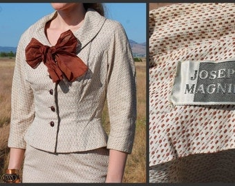 1960s Joseph Magnin Mod Cream Suit // Extra Small
