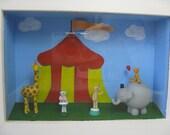 ON SALE! Shadow Box Framed Bear Circus Scene with Giraffe and Elephant