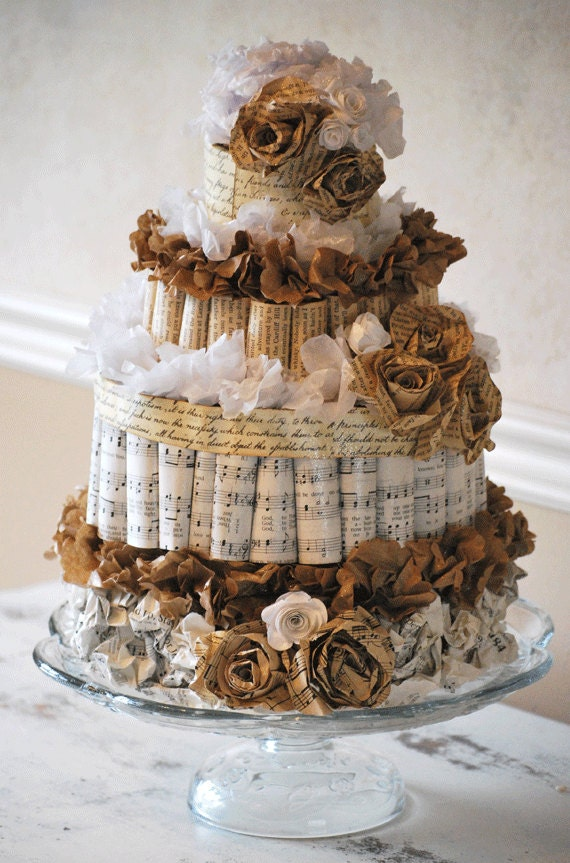 Paper wedding cake for bridal shower or by barbanndesigns - Decorative books for display ...