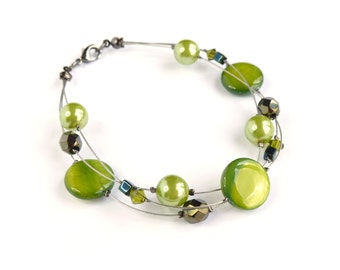 Lime Green Bracelet - Chartreuse Bridesmaid Jewelry - Pistachio Floating Pearl Bracelet - Spring Green Bridesmaids Gifts - Apple Green