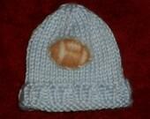 PREEMIE HAT Football Applique Hand Knit Beanie Kufi Infant blue
