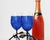 Space Galaxy Constellations Hand Painted Wine Glasses Royal Blue Gold set of 2