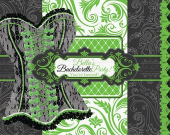 Bachelorette and Lingerie Party Invitation, Burlesque Party