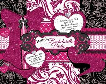 Bachelorette Party Invitations, Lingerie Shower Invitations, Corset Invitations, Burlesque Invitations