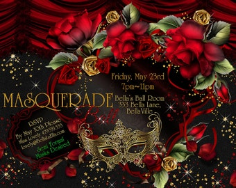 Masquerade Invitations, Party Invitations, Mardi Gras Party, Masquerade Party