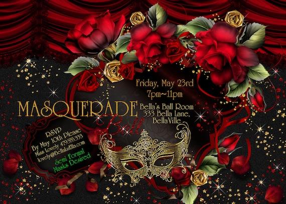 masquerade invitations party invitations mardi gras party  etsy, Party invitations