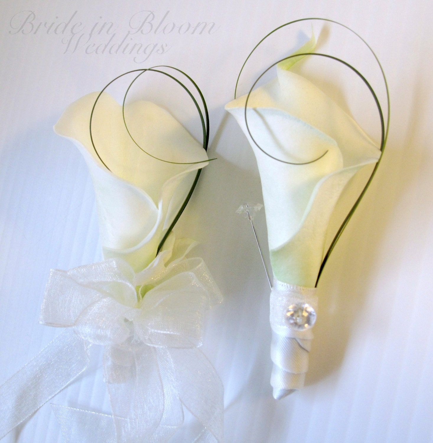 wedding corsage boutonniere set white cream real touch calla. Black Bedroom Furniture Sets. Home Design Ideas