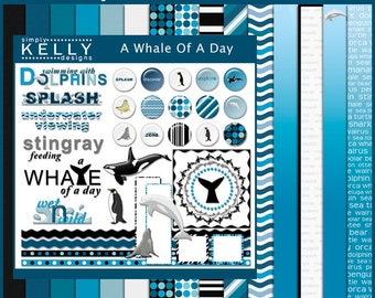 A Whale Of A Day Digital Scrapbook Kit - Instant Download