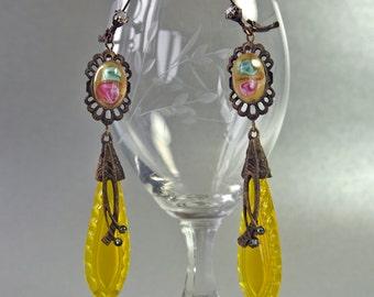 Yellow  Earrings Czech Art Nouveau Lampwork Cabochons Glass Drop Bohemian Gypsy