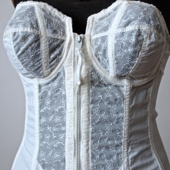 Vintage Bridal Corset Bustier Girdle 50 S White Cotton And