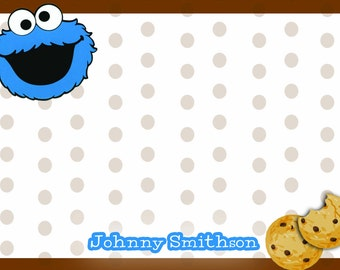 Cookie monster thank you notes, sesame street thank you, personalized cookie monster note cards, diy print thank you