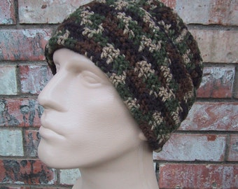 CAMO Beanie - Mens Hat Size Large - Hunting Gear - Hand Crocheted - Soft Acrylic Yarn - Warm Winter Cap - Fold-up Style - Ready to Ship