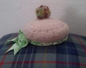 Tam o shanter pin cushion scottish bonnet t o s  hat crochet felt wool handmade unique
