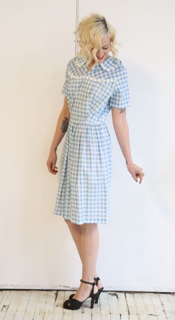 1950s Dress // vintage 50s day dress // Gingham & Daisies