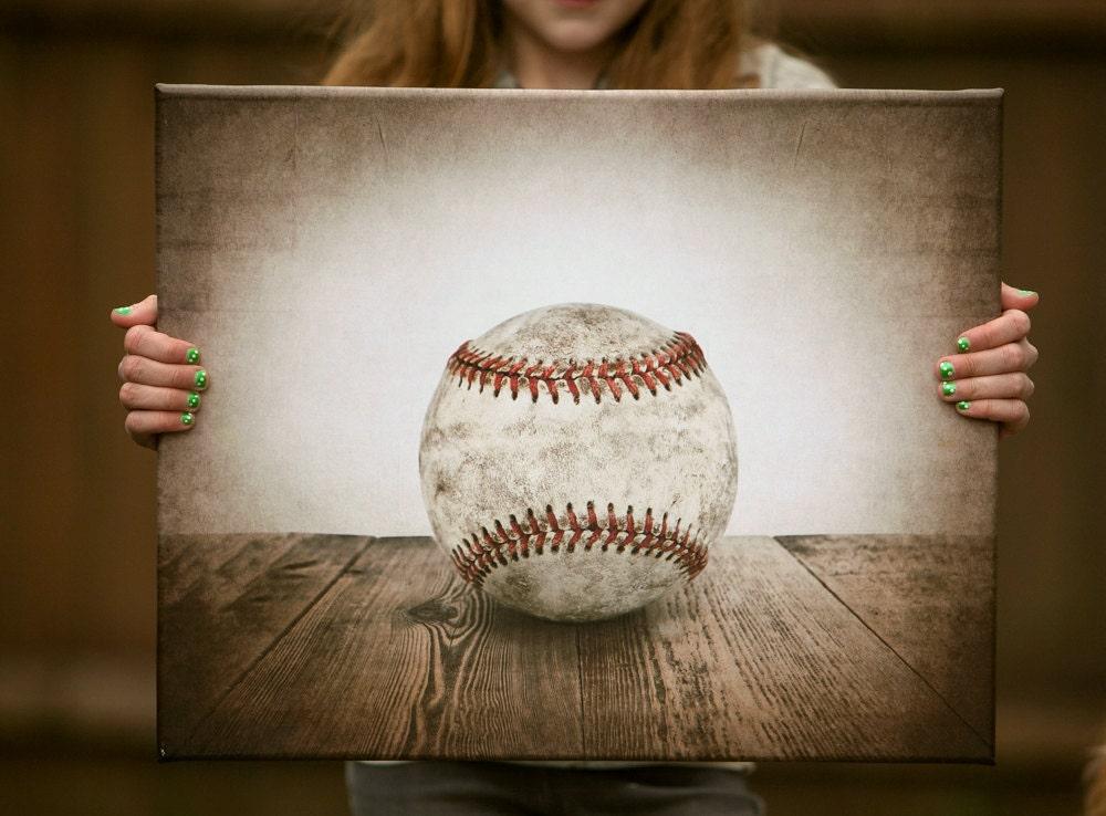 Vintage Single Baseball Photo Print On 16x20 Canvas Ready To