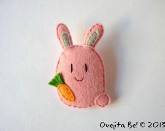 """Pink felt bunny brooch, """"Jumper"""""""