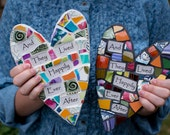 Whimsical Mosaic Heart with Personalized Sentiment Message MADE TO ORDER