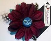 Teal and Burgundy Flower Hair  Clip