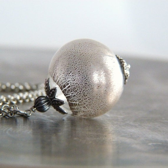 Silver Foil Hand Blown Glass Pendant Necklace - The Moon Sphere Bauble - Frosted Winter Necklace