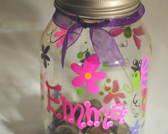 32 oz. Mason Jar Bank Personalized with Name. Each bank comes with a slotted lid for deposits. Other designs available. Free Shipping