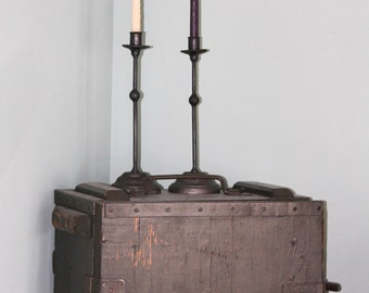 Matching Set of 2 Hand Forged Iron Candlestick Holders With Heavy Bases by VinTin (Item # C-401)