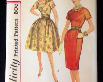 Vintage Pattern Simplicity 3523 Bust 34 1950s dress Bombshell Wiggle Full Skirt
