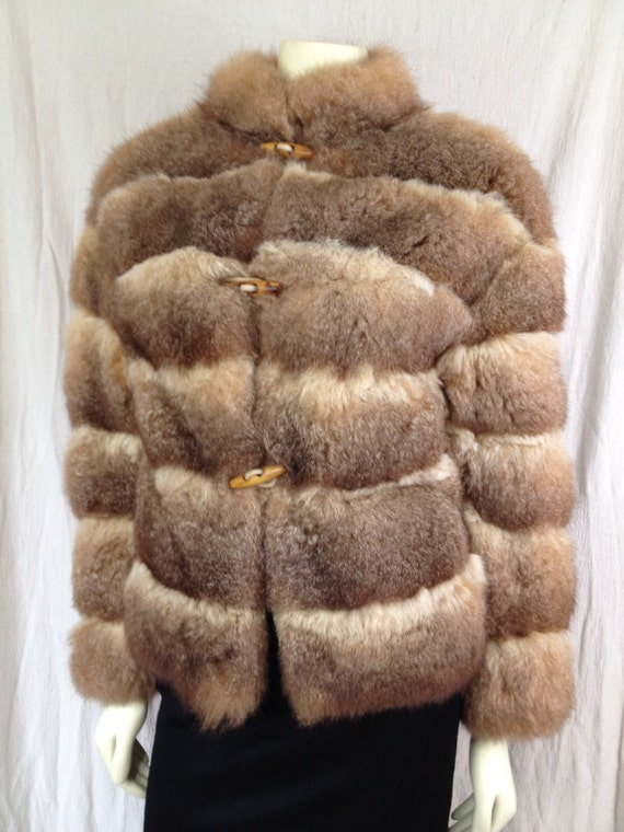 Vintage 1970s fur coat jacket Toggle Buttons Willmann's Furriers Oklahoma City Opossum