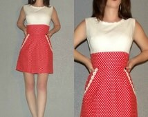 Mod XS S Vtg 60s 70s Orange Red and White POLKA DOT and Eyelet Lace Space Age Twiggy Mini Dress