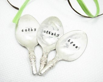 Spoon Cheese Markers. Recycled Vintage Silverware. Silver Plated Silverware. Makes a Great Hostess Gift for Christmas. 002CH