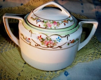 Vintage NIPPON Cream & Sugar, Mint Green Trim Roses, Flowers, Gold Trim, Dainty Porcelain Set, Rising Sun Mark - SALE!