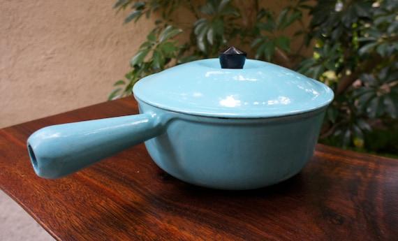 Vintage Cousances Turquoise Blue Sauce Pan With Lid Vintage