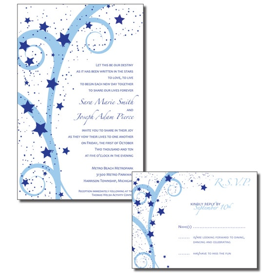 items similar to star themed print your own wedding invitations
