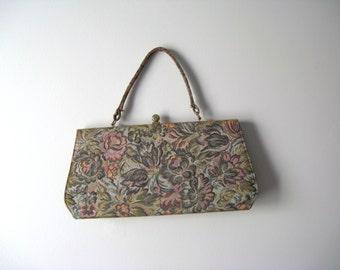 SALE vintage 1960s bag / 60s tapestry handbag