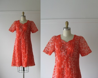 SALE vintage 1960s dress / 60s dress / Hot Pepper