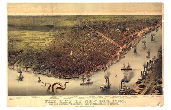 Digital Print, New Orleans Art, Octopus Tentacles, New Orleans Map, Monster Art, Mississippi Art, Cthulhu, Geekery, Alternate Histories