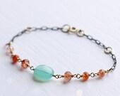 Chalcedony Bracelet, Sunstone Bracelet, Mixed Metal Bracelet