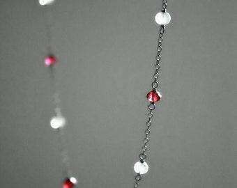 Station Necklace, Moonstone Garnet Sterling Silver 925