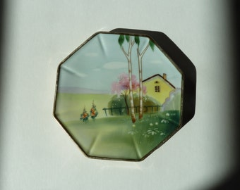 Octagonal hand painted japanese trivet with gold trim pre 1921